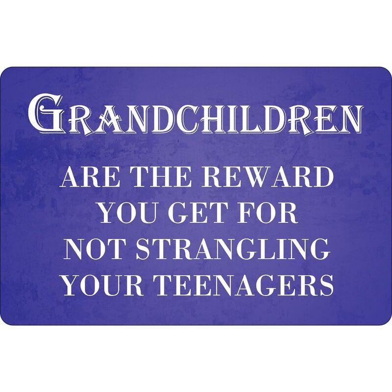 Image of Grandchildren The Best Reward Plaque (One Size) (Purple/White) - Greet Tin Card