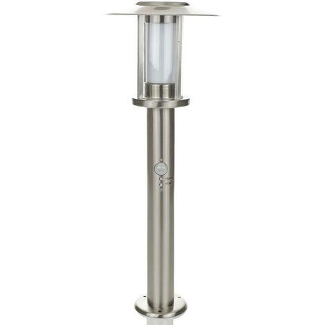 Gregory LED pillar lamp, stainless steel, sensor