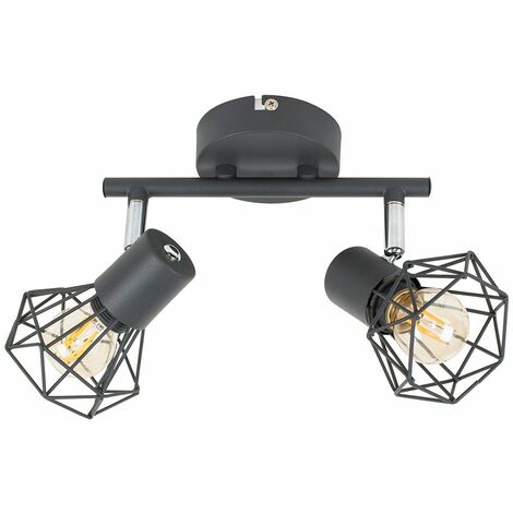Grey 2 Way Spotlight Ceiling Light Geometric Shades LED Filament Bulbs