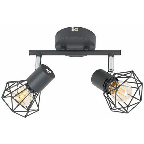 "main image of ""Grey 2 Way Spotlight Ceiling Light Geometric Shades LED Filament Bulbs - Add LED Bulb"""