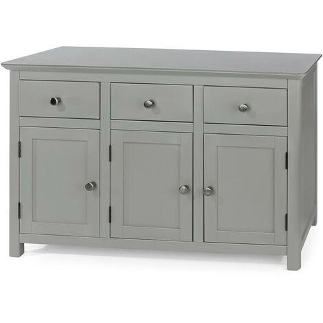 "main image of ""Grey 3 Door 3 Drawer Sideboard Storage Unit Metal Handles Toughened Glass Top"""