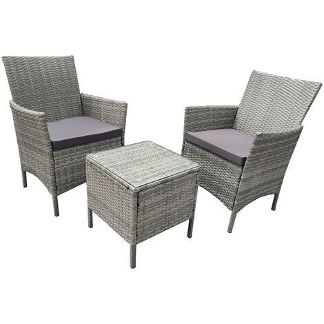"""main image of """"Grey 3 Piece Rattan Garden Furniture Bistro Set"""""""