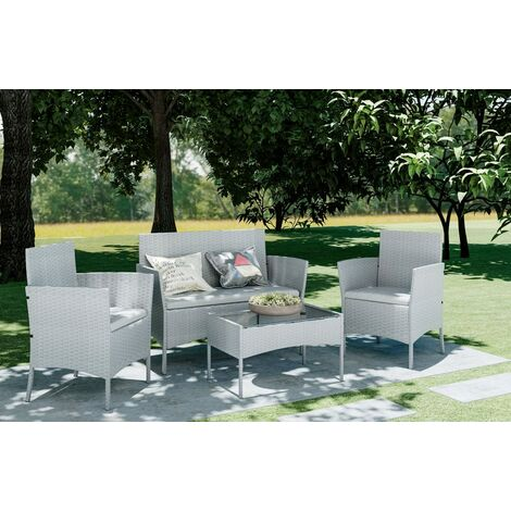 Grey 4 Piece Rattan garden furniture Set