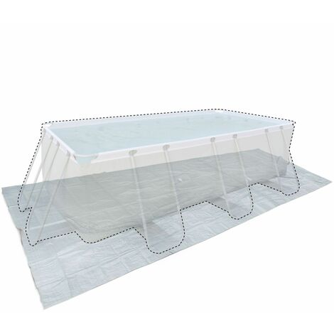 Grey 472 x 265 cm ground cloth for 400 x 200 cm above ground rectangular frame pool, cover, coverage, floor protector