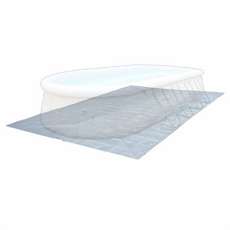 Grey 730 x 360cm ground cloth for above ground rectangular frame pool, cover, coverage, floor protector