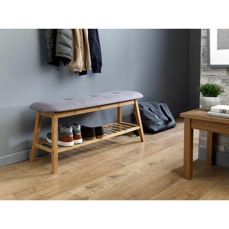 Grey And Bamboo Hallway Shoe Storage Bench