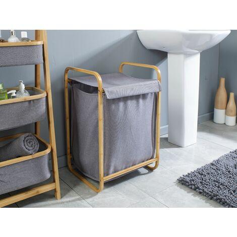 Grey And Bamboo Laundry Storage Hamper Basket