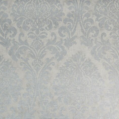 """main image of """"Grey and Silver Damask Wallpaper Traditional Heavy Duty Textured Vinyl"""""""