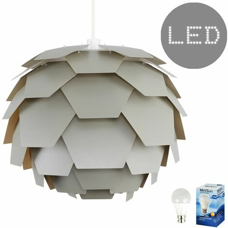 Grey Artichoke Ceiling Pendant Light Shade - 10w LED GLS Bulb - Warm White