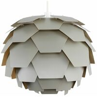 Grey Artichoke Ceiling Pendant Light Shade - 15w LED GLS Bulb Cool White