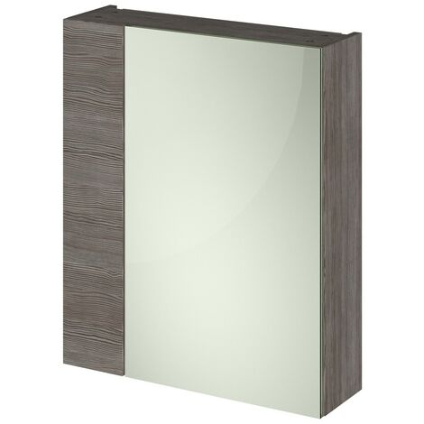 Grey Avola 600mm Mirror Cabinet 75/25 Split (180mm Deep)
