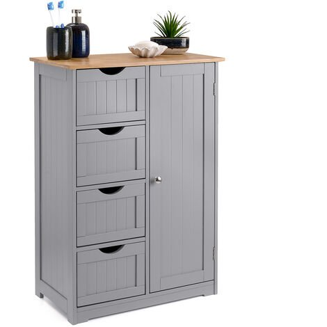 Grey & Bamboo 4 Drawer Cabinet