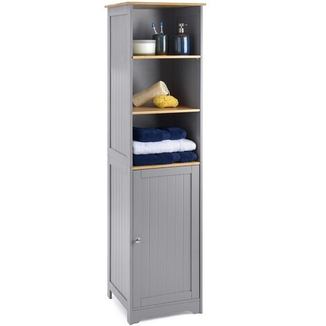 Grey & Bamboo Tallboy Bathroom Cabinet