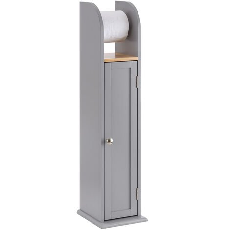 Grey & Bamboo Toilet Roll Holder Cabinet