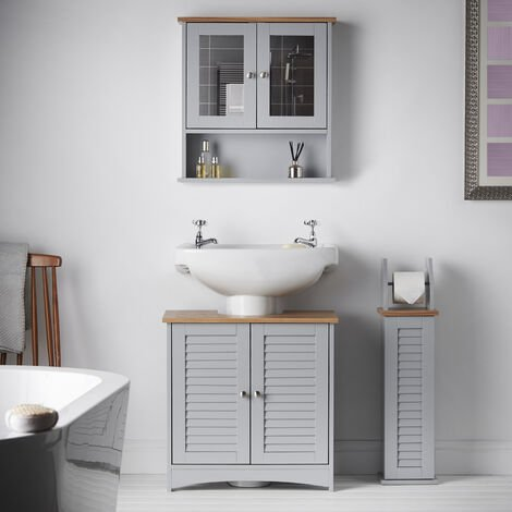 Grey Bathroom 3 Piece Set Wall Mounted Cabinet With Mirror, Under Sink and Floor Storage Unit