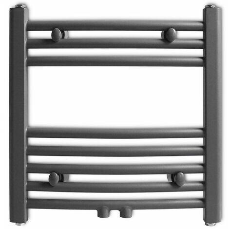 Grey Bathroom Central Heating Towel Rail Radiator Curve 480x480mm QAH04178
