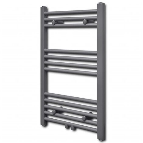 Grey Bathroom Central Heating Towel Rail Radiator Straight 500x764mm - Grey
