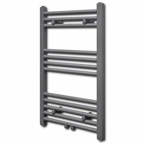 Grey Bathroom Central Heating Towel Rail Radiator Straight 500x764mm QAH04172
