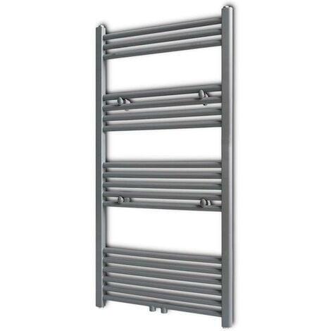 Grey Bathroom Central Heating Towel Rail Radiator Straight 600x1160mm