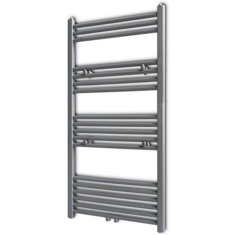 Grey Bathroom Central Heating Towel Rail Radiator Straight 600x1160mm