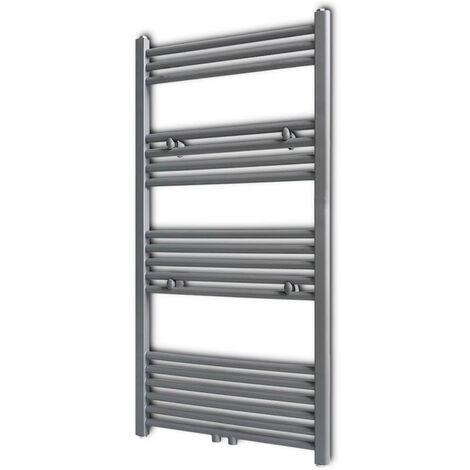 Grey Bathroom Central Heating Towel Rail Radiator Straight 600x1160mm - Grey