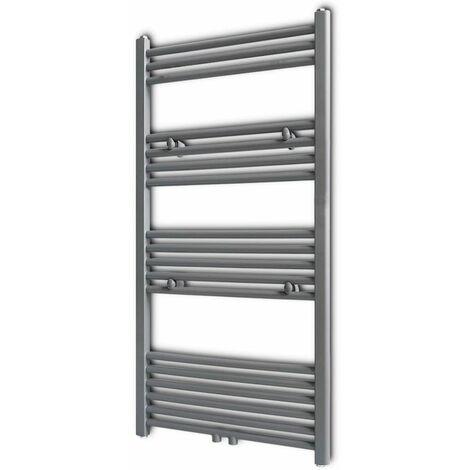 Grey Bathroom Central Heating Towel Rail Radiator Straight 600x1160mm QAH04174