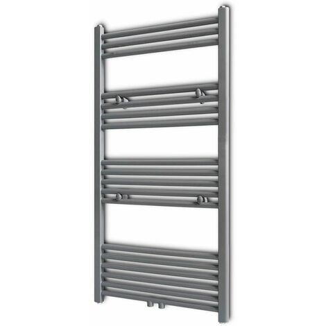 Grey Bathroom Central Heating Towel Rail Radiator Straight 600x1160mm VDTD04174