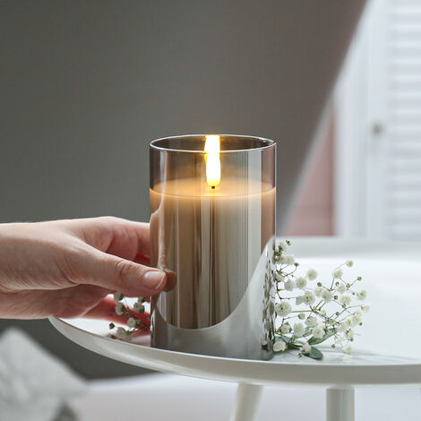 Grey Battery Wax Authentic Flame Candle in Smoked Glass Cylinder with Timer, 12.5cm