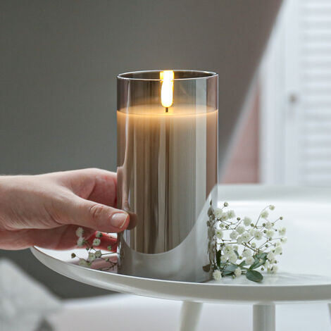 Grey Battery Wax Authentic Flame Candle in Smoked Glass Cylinder with Timer, 15cm