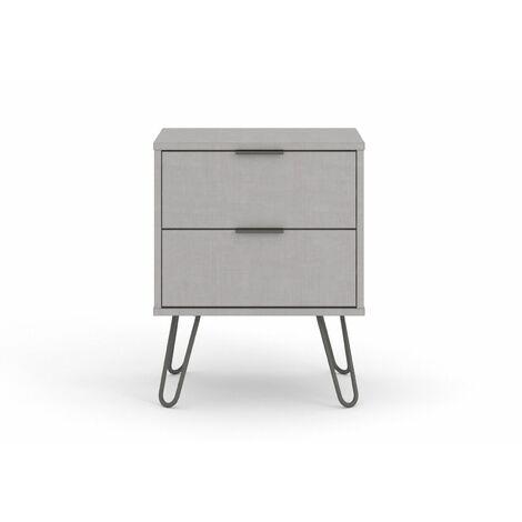 "main image of ""Grey Bedside Lamp Table Cabinet 2 Drawer Bedroom Living Room Storage Unit"""