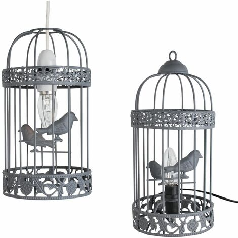 Grey Birdcage Table Lamp with Matching Ceiling Light Shade