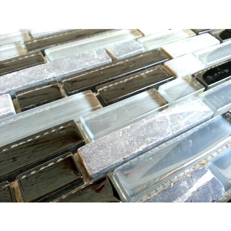 Grey & Black Glass & Stone Brick Shape Walls Borders Mosaic Tiles MT0019