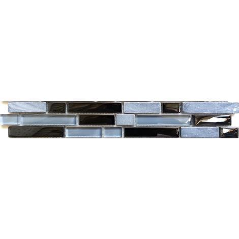 Grey Black Stone & Glass Mosaic Wall Tile Strips Border Bathroom Bath MB0019