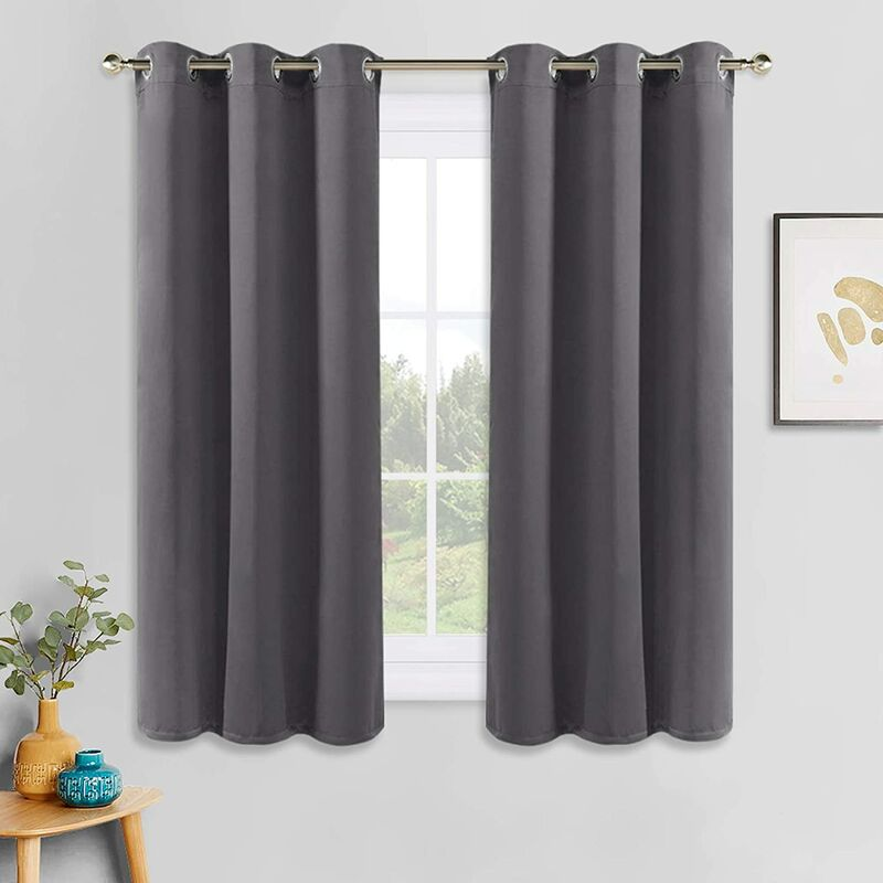 Grey Blackout Curtains - Thermal Insulated Grommet Curtain Panels Room Darkening for Kitchen/Bedroom Window Treatments Home Decoration, 42 Inches