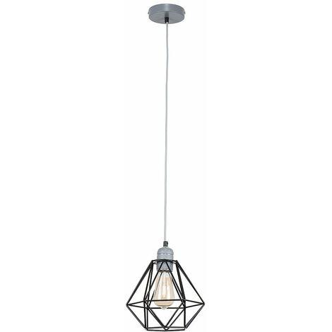 Grey Ceiling Lampholder + Black Shade 4W LED Filament Bulb Warm White