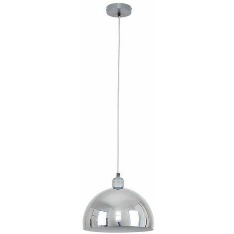 Grey Ceiling Lampholder Chrome Curved Light Shade