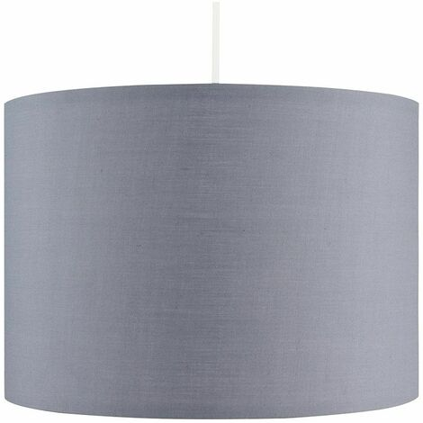 Grey Ceiling Pendant Light Shade 15W LED Gls Bulb - Cool White