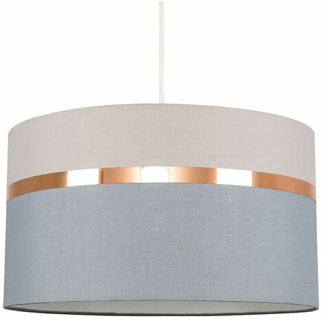 Grey Ceiling Pendant Light Shade + Copper Trim 6W LED Bulb Warm White