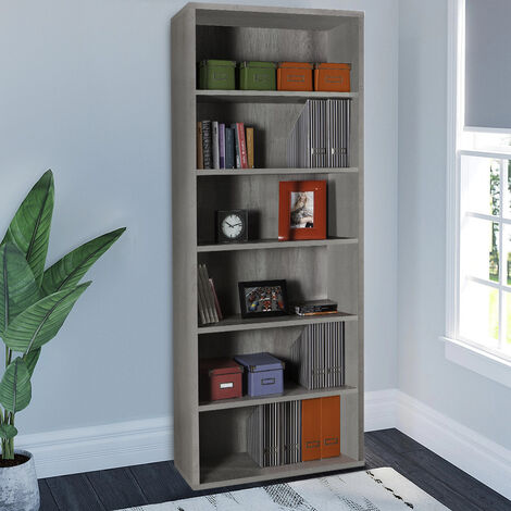 Grey Cement Effect Bookcase Storage Modern Design for Study Office 6 Tier Shelves EMPIRE STATE by Office24