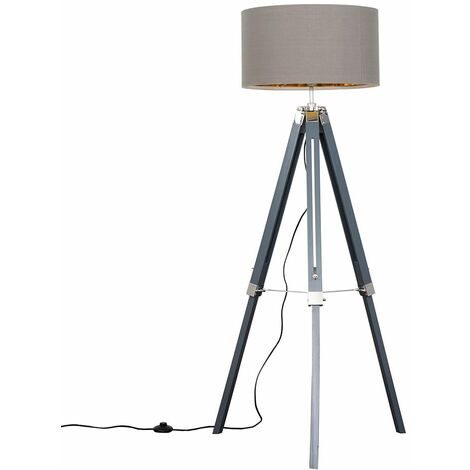 Grey & Chrome Tripod Floor Lamp + 6W LED GlS Bulb Warm White