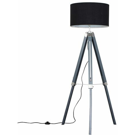 Grey & Chrome Tripod Floor Lamp