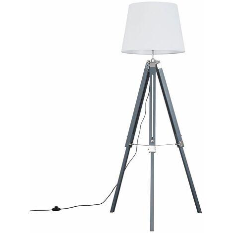 Grey & Chrome Tripod Floor Lamp + LED Bulb - White