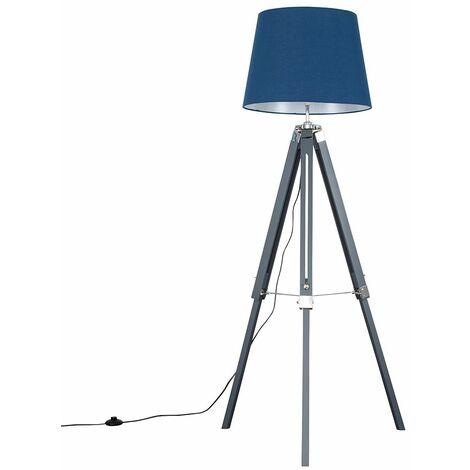 Grey & Chrome Tripod Floor Lamp + LED Bulb - White - Grey