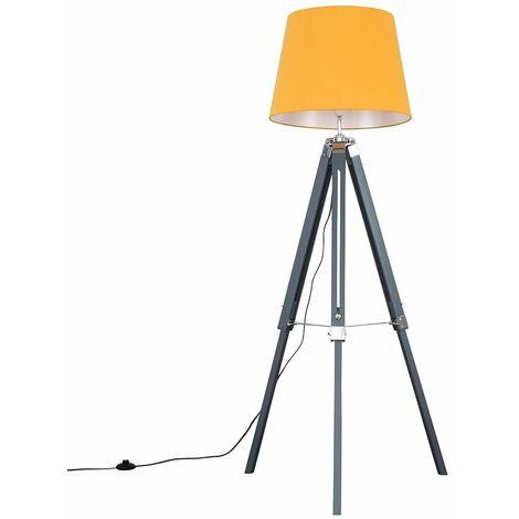 Grey & Chrome Tripod Floor Lamp with Aspen Shade - Grey - Grey