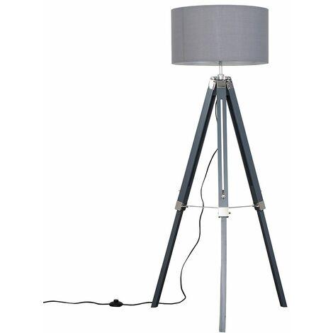 Grey & Chrome Tripod Floor Lamp with Rolla Shade - Grey - Grey