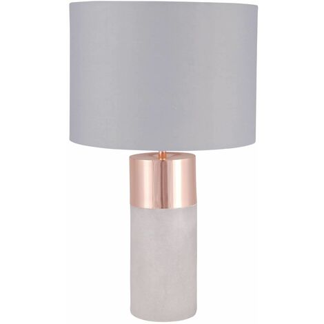 Grey Concrete Table Lamp Bedside Light Copper Detail and Grey Fabric Shade