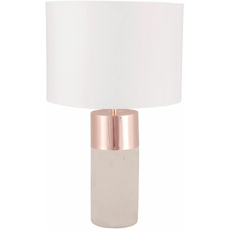 Grey Concrete Table Lamp Bedside Light Copper White or Grey Fabric Shade