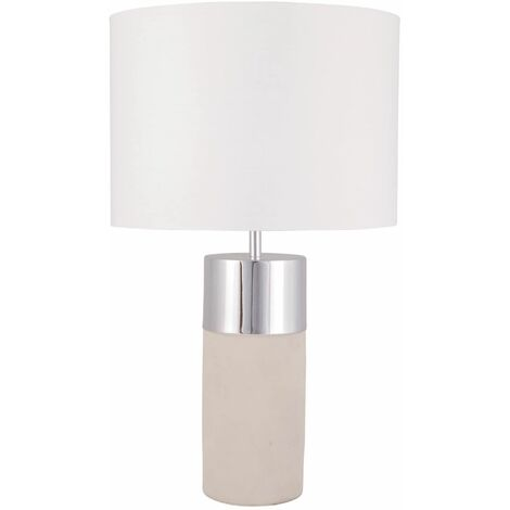 Grey Concrete Table Lamp Bedside Light with Chrome White or Grey Fabric Shade