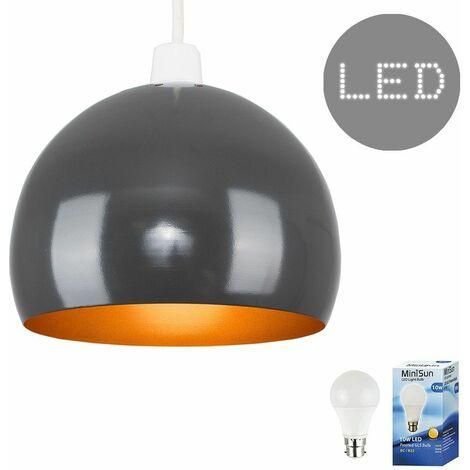Grey & Copper Metal Ceiling Pendant Light Shade - 10W LED Gls Bulb Warm White - Grey