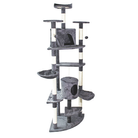 Grey Corner Cat Tree Scratching Post Climbing Tree 200cm with Platforms, Caves and Hammocks